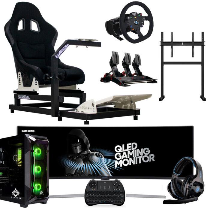 """Postazione-AeronSim-Evo2RS-Supporto-Monitor-Samsung-Monitor-49""""-Volante-Fanatec-Csw-2.5-Pedaliera-Fanatec-V3-PC-Game-Aron-2021"""