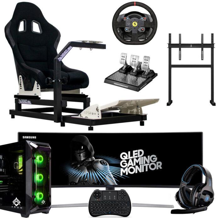 """Postazione-AeronSim-Evo2RS-Supporto-Monitor-Samsung-Monitor-49""""–Volante-TH-T300-Alcantara-Pedaliera-TH-T-LCM-PC-Game-Aron-2021"""