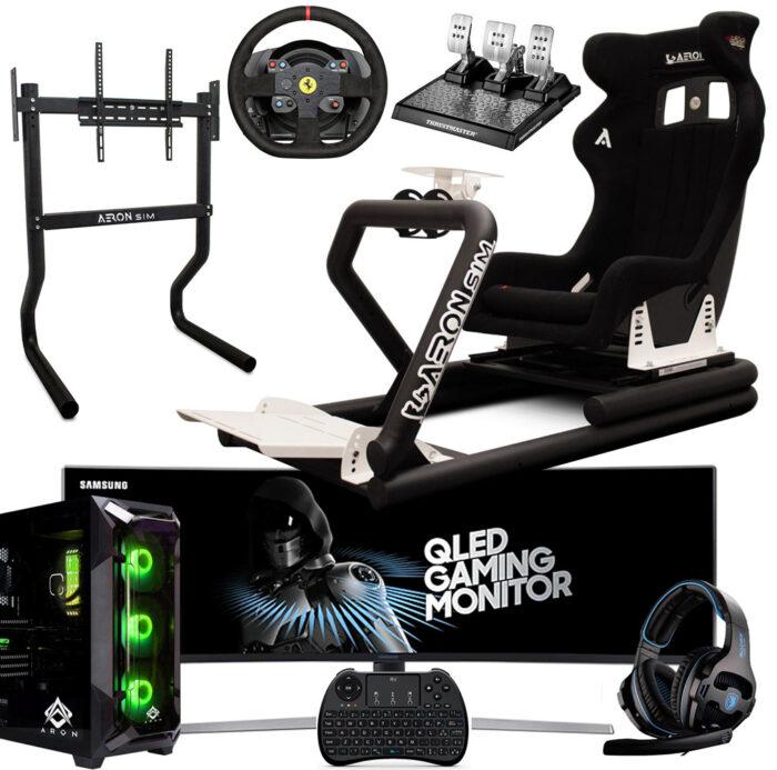 """Postazione-AeronSim-Evo3RS-Supporto-Monitor-Samsung-Monitor-49""""-Volante-TH-T300-Alcantara-Pedaliera-TH-T-LCM-PC-Game-Aron-2021"""